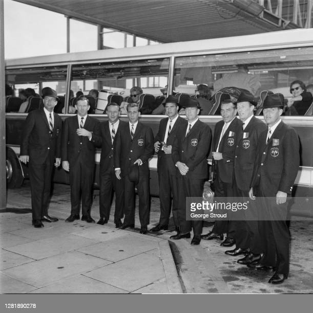 The US Ryder Cup team arrive at London Airport UK 30th October 1965 From left to right they are Ken Venturi Gene Littler Arnold Palmer Dave Marr...