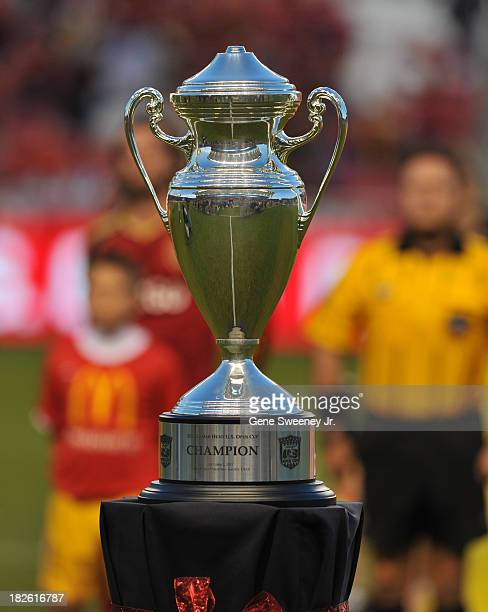The US Soccer Championship trophy sits on display before the game between DC United and Real Salt Lake at Rio Tinto Stadium October 1 2013 in Sandy...