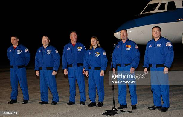 The US space shuttle Endeavour's crew arrives on February 2 2010 at Kennedy Space Center Florida in preparation for the STS130 mission to the...