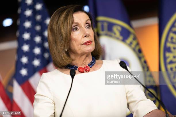 The US Speaker of the House Nancy Pelosi speaks over impeachment inquiry two days after the formal request during her weekly press conference on...