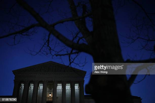 The US Supreme Court building is seen in the morning hours of March16 2016 in Washington DC President Barack Obama will announce his nominee to...