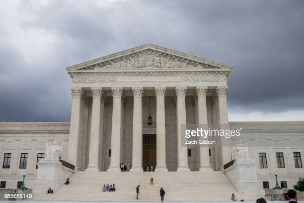 The US Supreme Court is pictured June 27 2018 in Washington DC Justice Anthony Kennedy who has served on the Supreme Court since 1988 announced today...