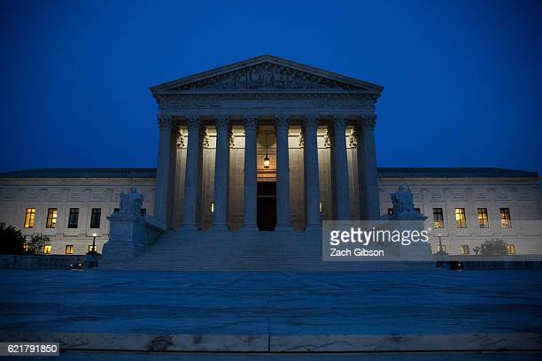 The US Supreme Court is pictured on November 8 2016 in Washington DC Americans today will choose between Republican presidential candidate Donald...
