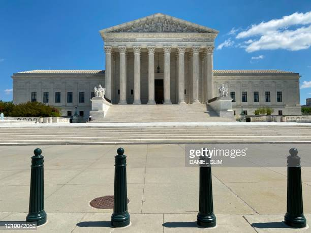 The US Supreme Court is seen amid the coronavirus pandemic on April 15 2020 as stay at home order has been extended in Washington DC until May 15...