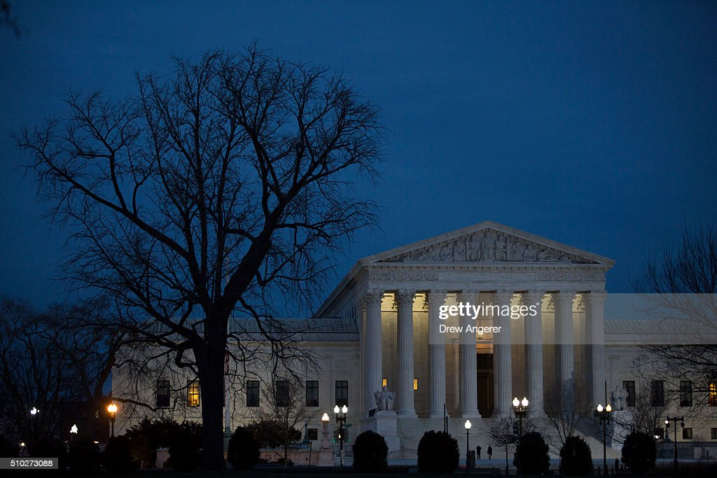 The U.S. Supreme Court is seen in at dusk on February 14, 2016 in Washington, DC. Supreme Court Justice Antonin Scalia was at a Texas Ranch Saturday morning when he died at the age of 79.