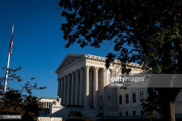 The U.S. Supreme Court is seen in the morning on November 4, 2020 in Washington, DC. The nation awaits the results of a historic presidential...