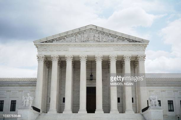 The US Supreme Court is seen in Washington, DC on July 1, 2021. - The US Supreme Court on July 1, 2021 upheld controversial Arizona laws that...