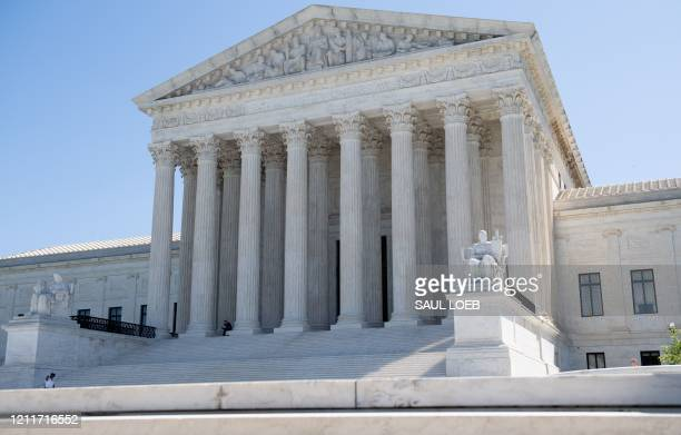 The US Supreme Court is seen in Washington DC on May 4 during the first day of oral arguments held by telephone a first in the Court's history as a...