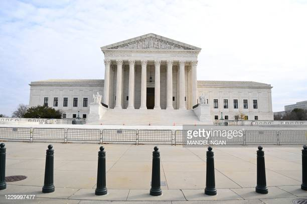 The US Supreme Court is seen in Washington,DC on December 7, 2020. - The US Supreme Court will hear Monday a case involving an important medieval art...