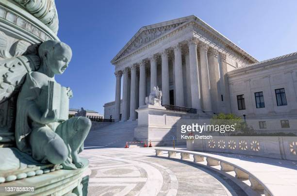 The U.S. Supreme Court is seen on September 02, 2021 in Washington, DC. The Supreme Court voted 5-4 not to stop a Texas law that prohibits most...