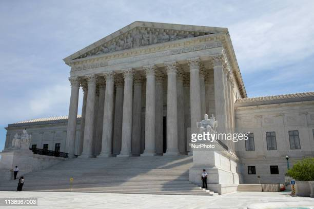 The US Supreme Court is seen while The Court is hearing oral arguments on whether the Trump administration broke the law by deciding to ask about...