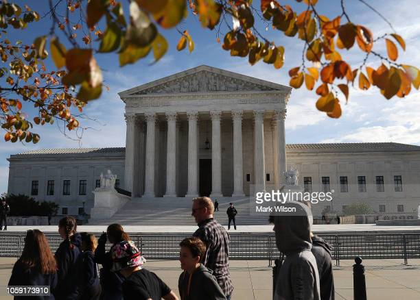 The US Supreme Court is shown on the day of the investiture ceremony for new Supreme Court Associate Justice Brett Kavanaugh on November 8 2018 in...