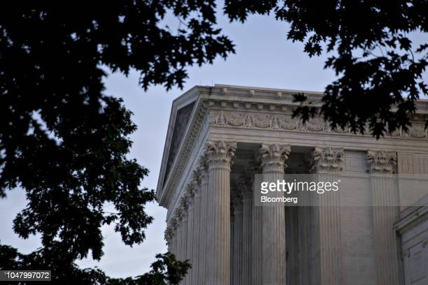 The US Supreme Court stands in Washington DC US on Tuesday Oct 9 2018 Brett Kavanaugh will be at the end of the Supreme Court's bench when he hears...