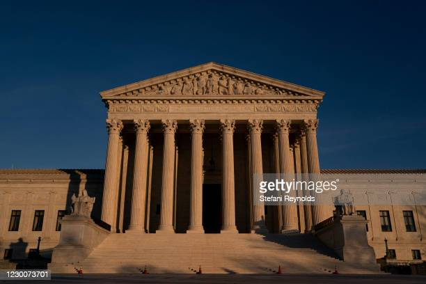 The U.S. Supreme Court stands on December 11, 2020 in Washington, DC. More than 100 Republicans in the House of Representatives voiced their support...