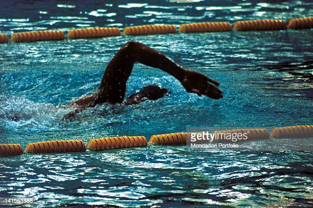 The US swimmer Mark Spitz strokes during the final 200 metres freestyle He'll win his third gold medal and the Olympic world record Munich August 29...