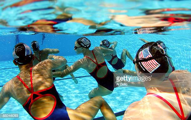 The US synchronized swimming team practice for the XI FINA World Championships at the Parc JeanDrapeau on July 16 2005 in Montreal Quebec Canada