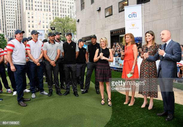 The US Team and The International Team speak with the hosts of The Today Show prior to the start of the Presidents Cup at Liberty National Golf Club...