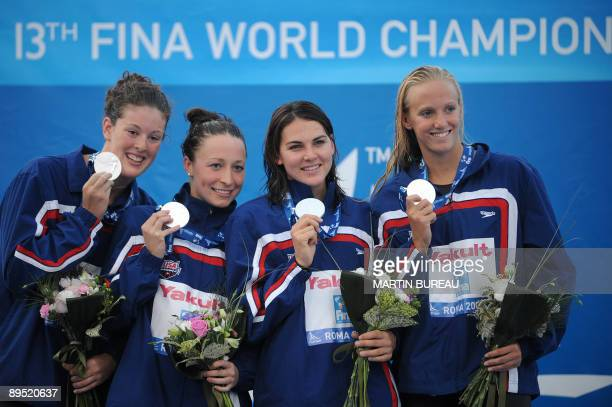 The US team Dana Vollmer Lacey Nymeyer Ariana Kukors and Allison Schmitt celebrate their silver medal on the women's 4x200m freestyle final on July...