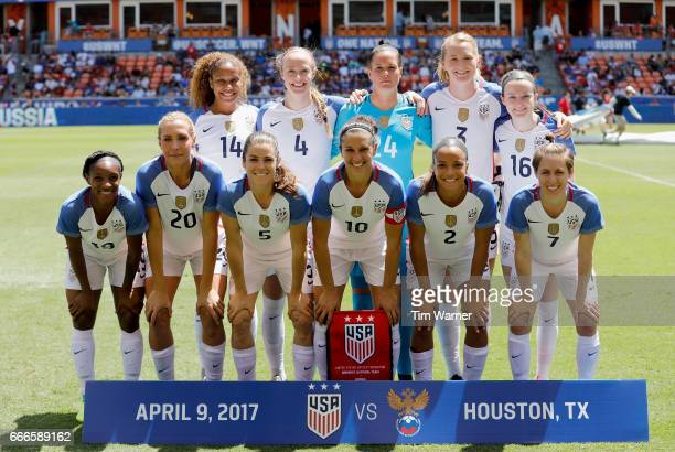 The US team poses for a photo before the International Friendly soccer match against the Russia at BBVA Compass Stadium on April 9 2017 in Houston...