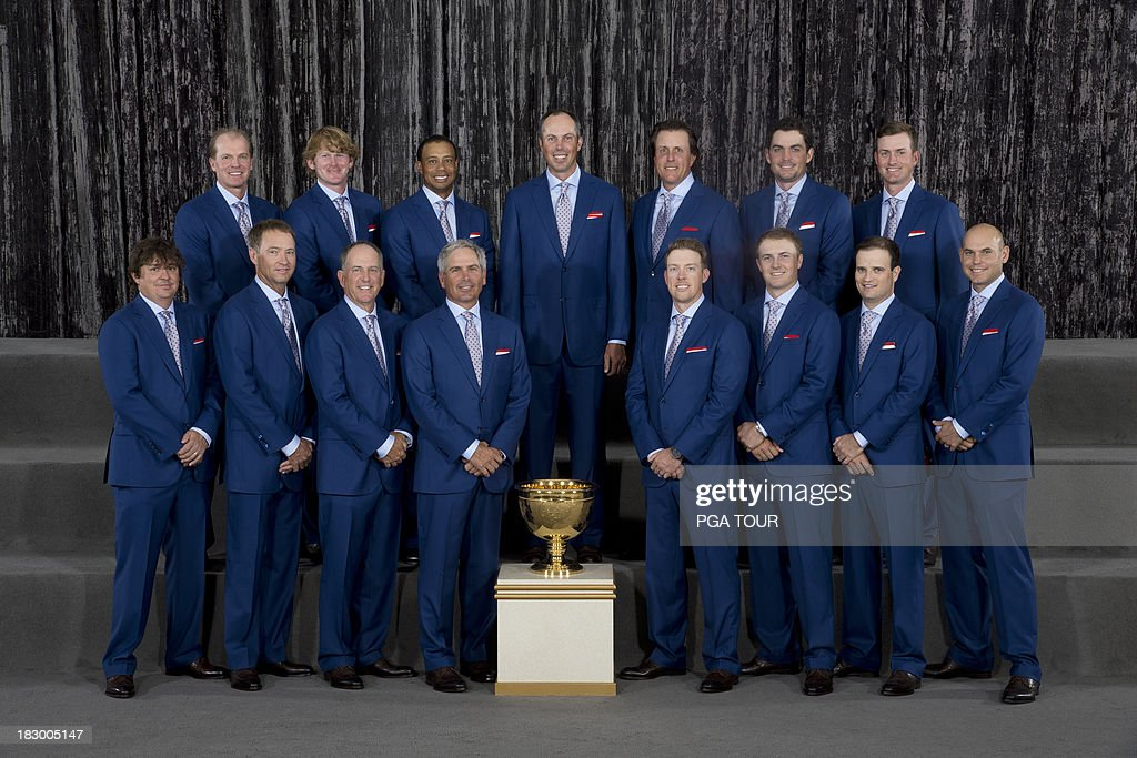 The U.S. Team poses for their formal team photo prior to the Opening Ceremony for The Presidents Cup on October 2, 2013 in Columbus, Ohio.