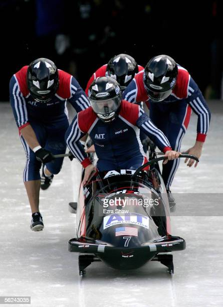 The US team with Steven Holcomb driving and Brock Kreitzburg Bill Schuffenhauer and Curtis Tomasevicz at the start of heat 2 of the FIBT Men's...