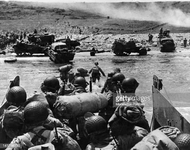 The US troops landing in Normandy in the area with the code name Omaha Beach Normandy 6 July 1944