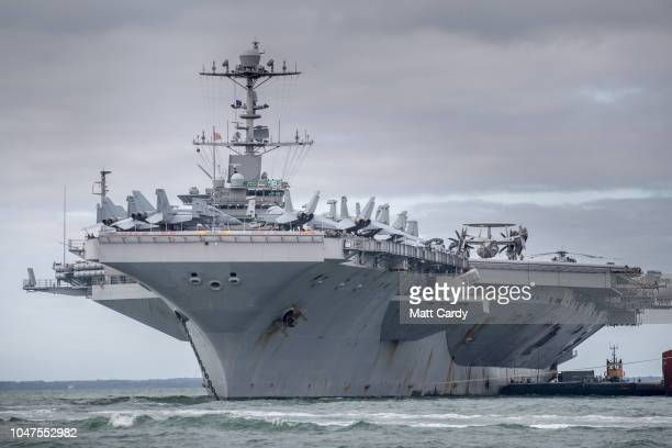 The US warship USS Harry S Truman is pictured anchored in The Solent on October 8 2018 near Portsmouth England The nuclear powered aircraft carrier...