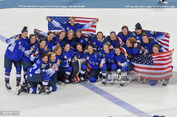 The U.S. Women's hockey team sits for a team photo following the women's gold medal hockey game with the U.S.A. Defeating Canada 3-2 in a shootout...