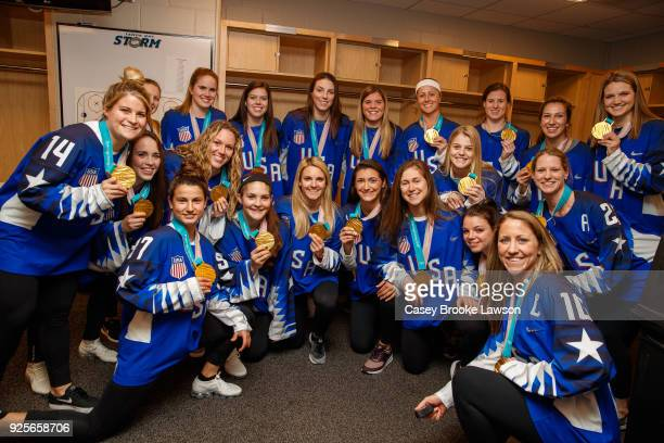 The US Women's hockey team visits Amalie Arena before the Tampa Bay Lightning game against the Buffalo Sabres Leafs on February 28 2018 in Tampa...