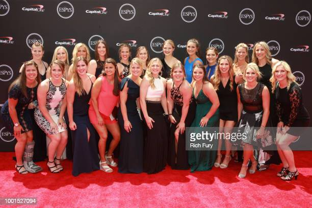 The US women's national ice hockey team attends the 2018 ESPYS at Microsoft Theater on July 18 2018 in Los Angeles California