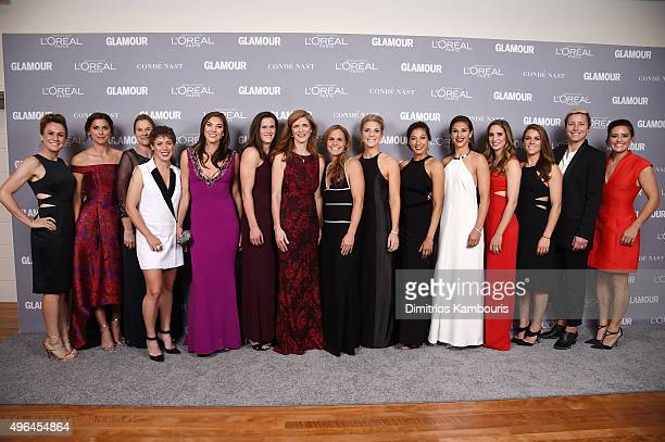 The US Womens National Soccer Team pose the their award backstage at the 2015 Glamour Women Of The Year Awards at Carnegie Hall on November 9 2015 in...