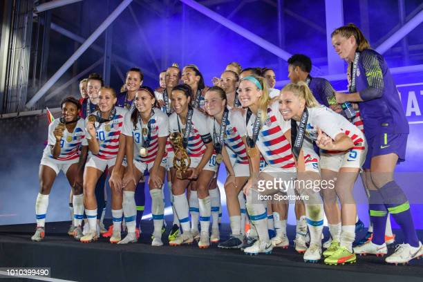 The US Womens National Team celebrates winning the Tournament of Nations after a match between the United States and Brazil on Ausgust 2 at Toyota...