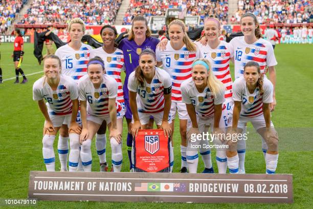The US Womens National Team starting XI pose for a photo before a Tournament of Nations international soccer match between the United States and...