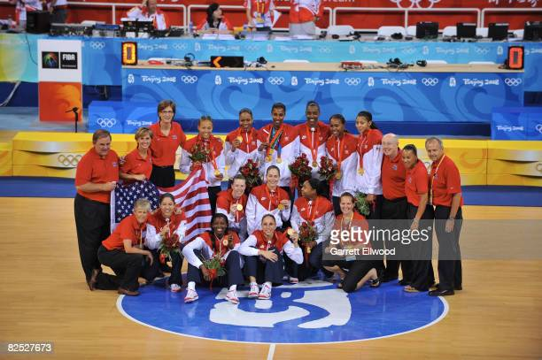 The U.S. Women's Senior National Team celebrate after winning the gold medal against Australia at the Beijing Olympic Basketball Gymnasium on Day 15...