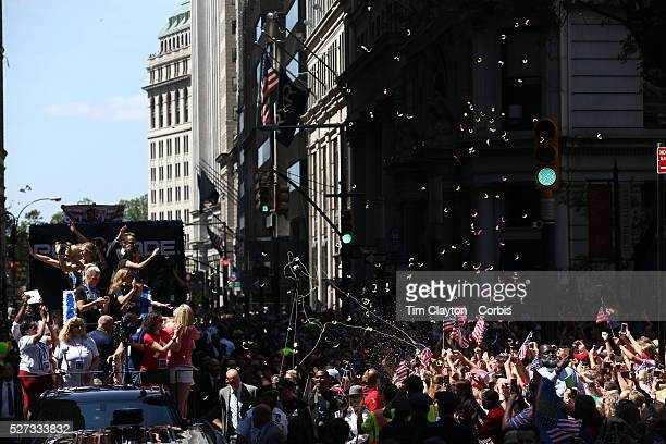 The US Women's Soccer Team float containing Abby Wambach, Christy Rampone, Reece and Ryle Rampone, Christen Press, Julie Johnston, Whitney Engen and...