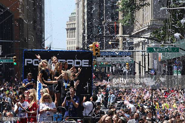 The US Women's Soccer Team float containing Abby Wambach Christy Rampone Reece and Ryle Rampone Christen Press Julie Johnston Whitney Engen and...