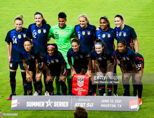 """The US Women""""u2019s national team poses for a photo prior to the 2021 WNT Summer Series friendly between Jamaica and The United States at BBVA..."""