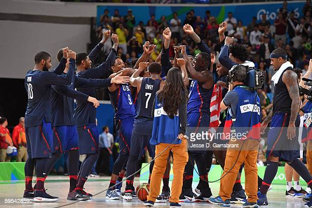 The USA Basketball Men's National Team celebrate after the Gold Medal Game against Serbia on Day 16 of the Rio 2016 Olympic Games on August 21, 2016...