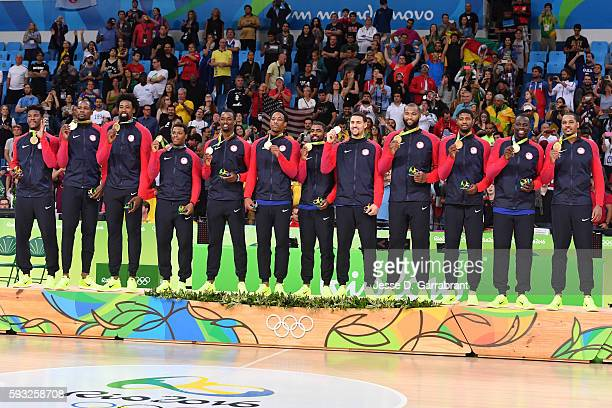 The USA Basketball Men's National Team celebrates after winning the Gold Medal Game against Serbia on Day 16 of the Rio 2016 Olympic Games at Carioca...