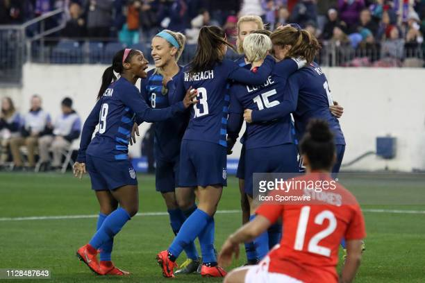 The USA celebrates a goal during the She Believes Cup match between the United States and England at Nissan Stadium on March 2nd 2019 in Nashville...