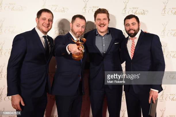 The USA Curling of John Schuster Matthew Hamilton Tyler George and John Thomas Landsteiner with the ANOC award for Best Male Team of PyeongChang 2018...