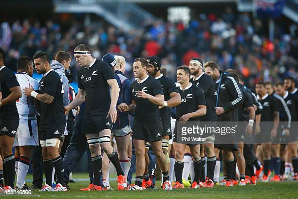 The USA Eagles and the New Zealand All Blacks shake hands following the International Test Match between the United States of America and the New...