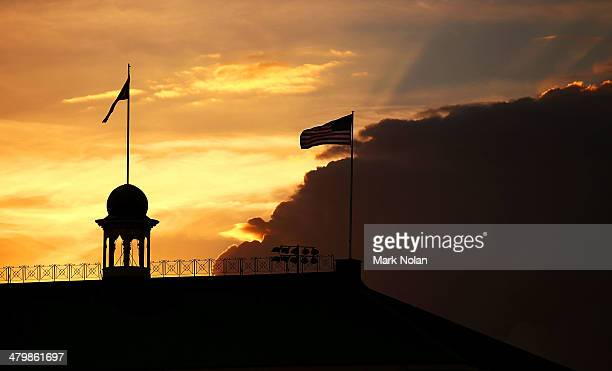 The USA flag flies over the SCG memebers stand at sunset during the match between Team Australia and the Arizona Diamondbacks at Sydney Cricket...