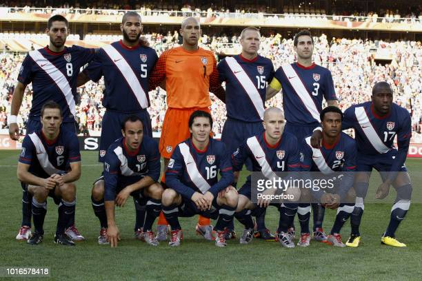 The USA football team prior to the 2010 FIFA World Cup Group C match between Slovenia and USA at Ellis Park Stadium in Johannesburg South Africa on...
