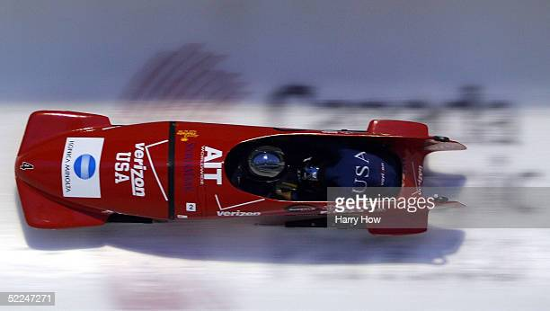 The USA I bobsled led by Jean Racine and Vonetta Flowers in heat 3 during the FIBT 2005 Woman Bobsleigh World Championships at Canada Olympic Park on...