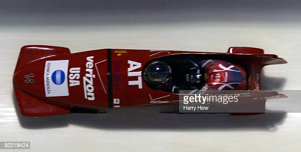 The USA I bobsled led by Steven Holcomb and Pavle Jovanovic race during the FIBT 2005 TwoMan Bobsleigh World Championships at Canada Olympic Park on...