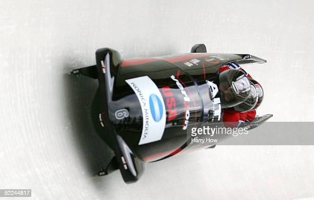 The USA I bobsled led by Todd Hays Pavle Jovanovic Bill Schuffenhauer and Steve Mesler in heat 1 during the FIBT 2005 FourMan Bobsleigh World...