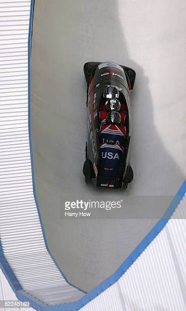 The USA I bobsled led by Todd Hays Pavle Jovanovic Bill Schuffenhauer and Steve Mesler turn a corner in heat 2 during the FIBT 2005 FourMan Bobsleigh...