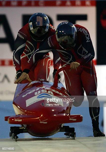 The USA I team of Steven Holcomb and Pavle Jovanovic push off at the start in a training run during FIBT 2005 Bobsleigh Men's World Championships at...
