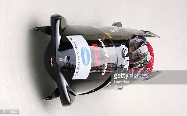 The USA II bobsled led by Steven Holcomb Ben Fogel Jason Ross and Lorenzo Smith in heat 1 during the FIBT 2005 FourMan Bobsleigh World Championships...